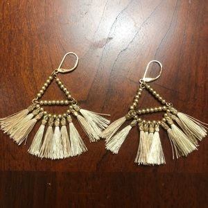 Gold and cream dangle earrings